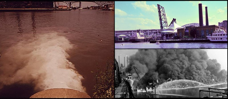 Cuyahoga River on fire and restored today
