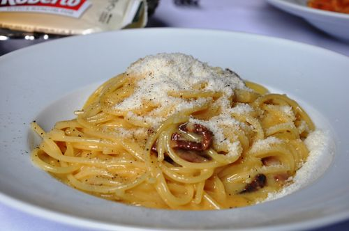 Pasta carbonara at Al Pompiere, Rome -- with pecorino cheese.