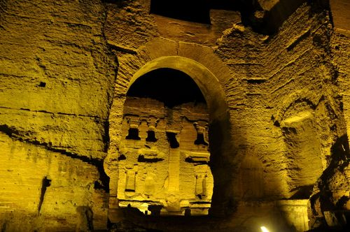 Ancient ruins of the Baths of Caracalla at night