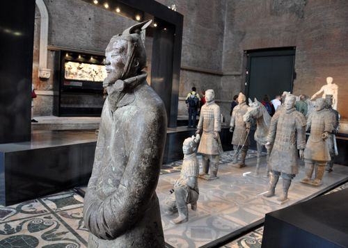 Terracotta warriors of Xian in the Curia, Roman forum, Rome