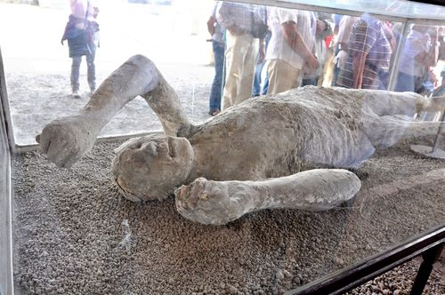 Plaster cast of one of Pompeii's victims