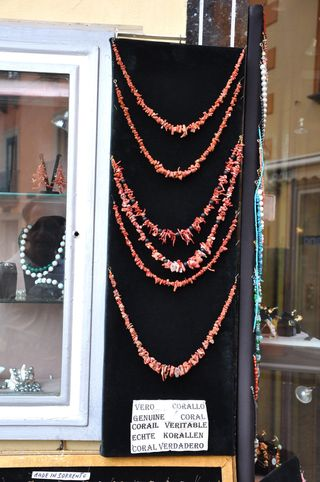 Coral jewelry sold in Sorrento, Amalfi coast, Italy