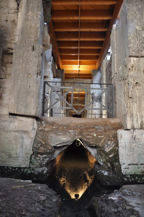 Part of the hypogeum, with ancient sewer system underneath, of the Colosseum