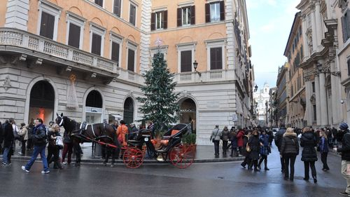 Rome at Christmas time, in Spanish Steps area