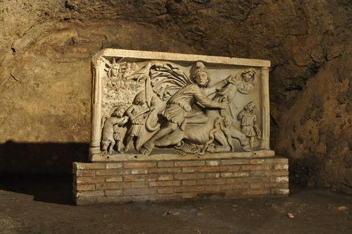Frieze of Mithras slaying a bull, Circo Massimo mithraeum, Rome