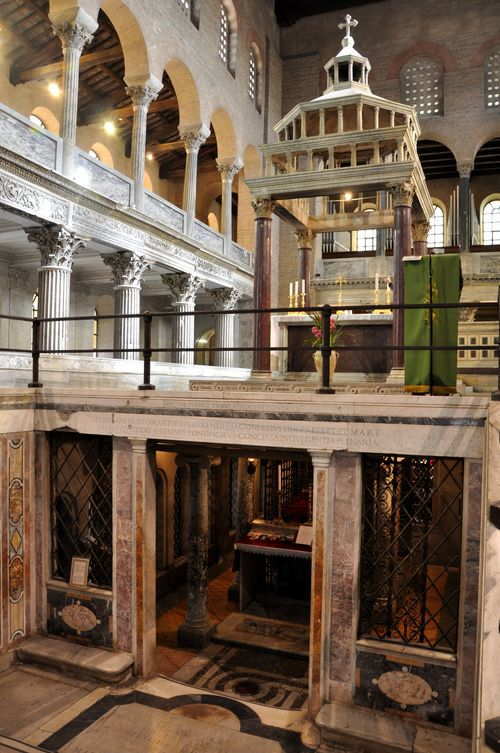 Altar and Byzantine construction of San Lorenzo fuori le Mura, Rome