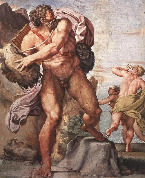 Cyclops Polyphemus in Annibale Carracci's frescoes in Palazzo Farnese, Rome