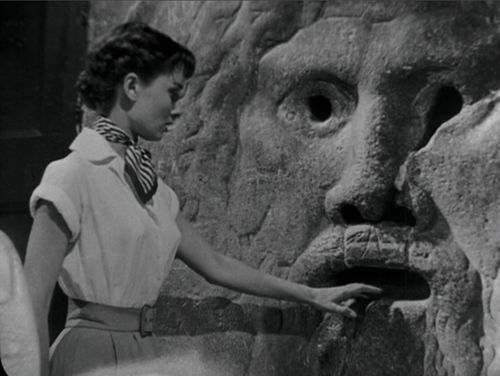 Audrey Hepburn at Mouth of Truth at Roman Holiday movie in Rome