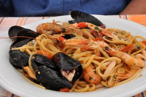 Pasta with seafood at L'Acqua Marina restaurant near Rome