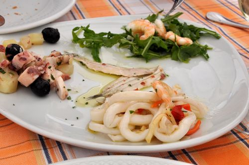 Seafood at L'Acqua Marina, a restaurant in Santa Marinella, Italy