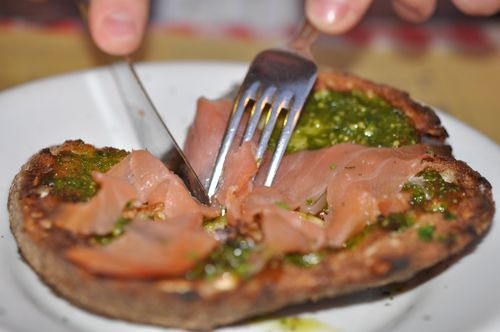 Salmon and pesto bruschetta at Al Grottino, Rome