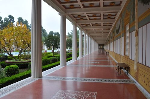 Colonnade at the Getty Villa, a recreated ancient Roman villa in California