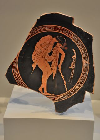 Ancient Greek pottery in the Getty Villa of Malibu California