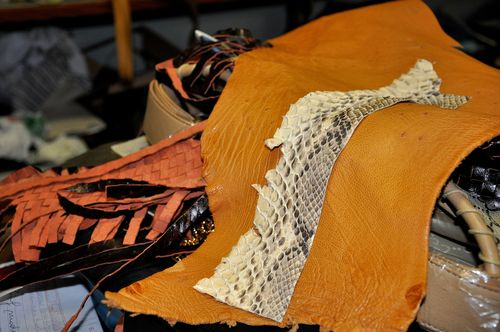 Leather and snakeskin at Armando Rioda leather workshop, Rome