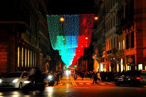 Via del Corso, with Christmas lights in Rome