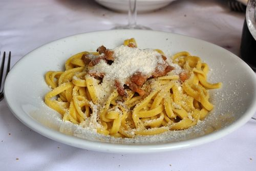 Pasta alla gricia at a restaurant not in the Rome center