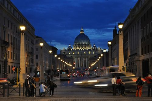 St Peter's Vatican at night