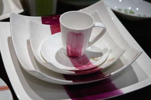 Dishes from handpainted porcelain shop in Rome