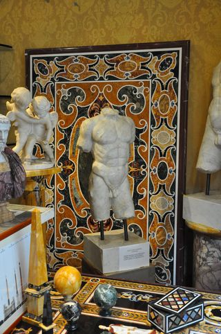 Mosaics and marbles at a shop in Rome