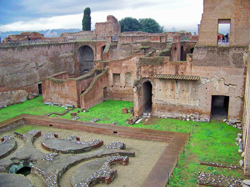Palatine hill, Rome, in the rain
