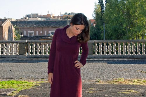 Burgundy fairtrade dress in Rome