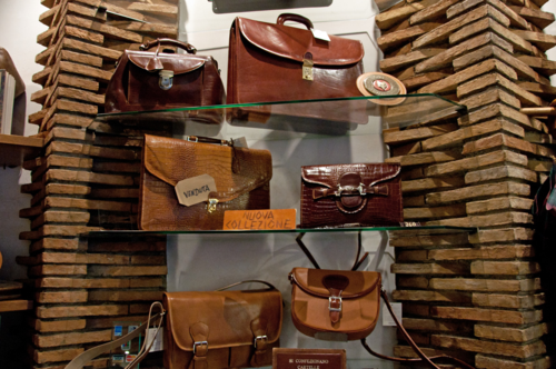 Leather briefcases at a shop in Rome