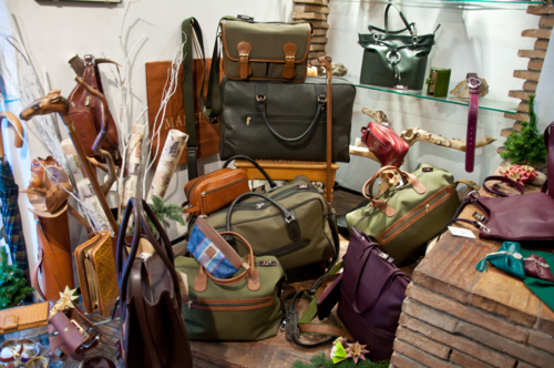 Luggage at Mancini shop in Rome